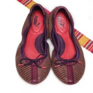 Puma Burgundy Purple & Athletic Ballet Flats 8 1/2